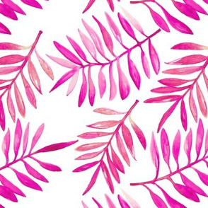 Botanical garden watercolors summer palm leaves bright pink