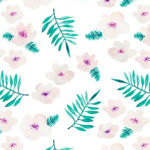 Botanical garden watercolors summer palm leaves and cherry flower blossom teal pink