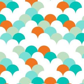Abstract trend design shell scallop bubble print orange blue boys