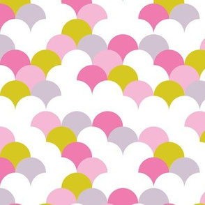 Abstract trend design shell scallop bubble print pink lilac girls