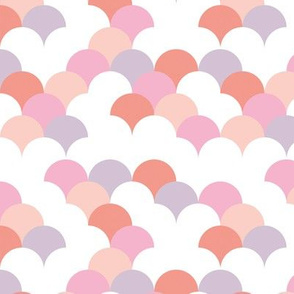 Abstract trend summer design shell scallop bubble print pastel pink peach lilac girls