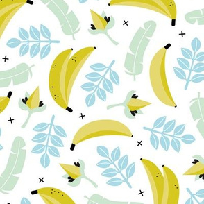 Summer banana jungle tropical flowers hawaii kids print boys