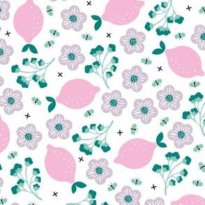 Summer lemons and lime garden butterfly botanical fruit print pink girls