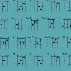 Guitar Chords Teal Spoonflower