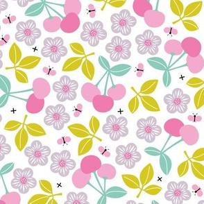 Sweet cherry blossom botanical garden farmer's market summer design girls