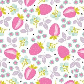 Sweet strawberry illustration garden plants farmer's market design pink lilac