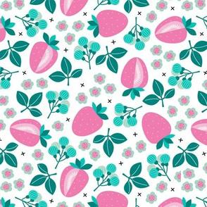 Sweet strawberry illustration garden plants farmer's market design pink blue