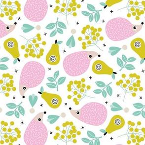 Sweet hedgehog fruit summer garden sweet porcupine design pink girls