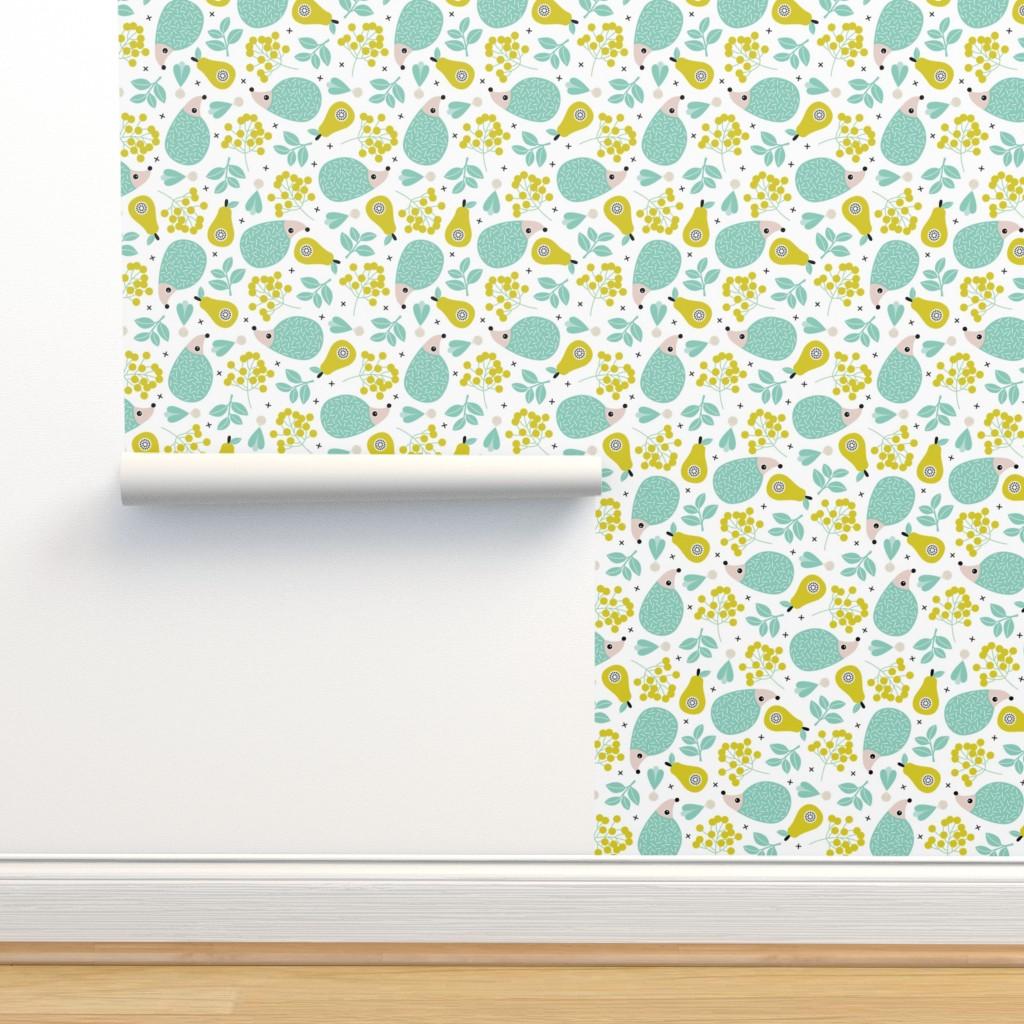 Isobar Durable Wallpaper featuring Sweet hedgehog fruit summer garden sweet porcupine design ming gender neutral by littlesmilemakers
