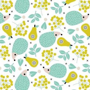 Sweet hedgehog fruit summer garden sweet porcupine design ming gender neutral