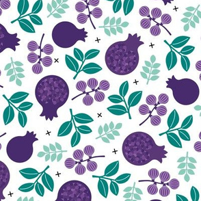 Sweet fig garden berries and leaves botanical summer autumn print