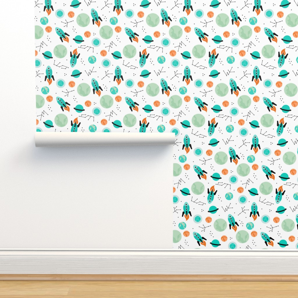 Isobar Durable Wallpaper featuring Magic rocket ship astronauts space cool galaxy planet print with moon and stars by littlesmilemakers