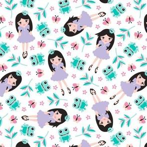 Princess and frog garden summer design for girls blue lilac
