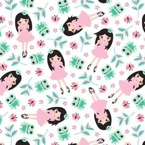 Princess and frog garden summer design for girls