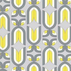 retro abstract tulips yellow and grey