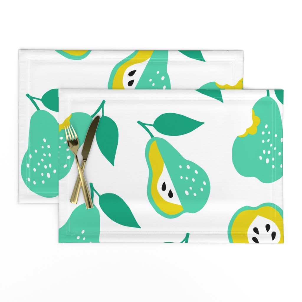 Lamona Cloth Placemats featuring Jumbo school pears ditsy by heleen_vd_thillart