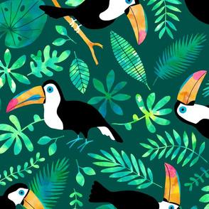 Jumbo Toucan Jungle watercolor green