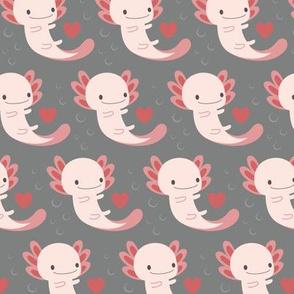 Axolotls hearts and bubbles (grey)