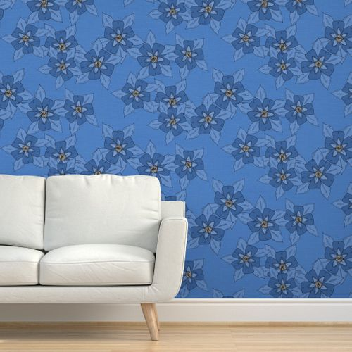 Removable Water-Activated Wallpaper Floral Hand Drawn Illustrated Garden Green