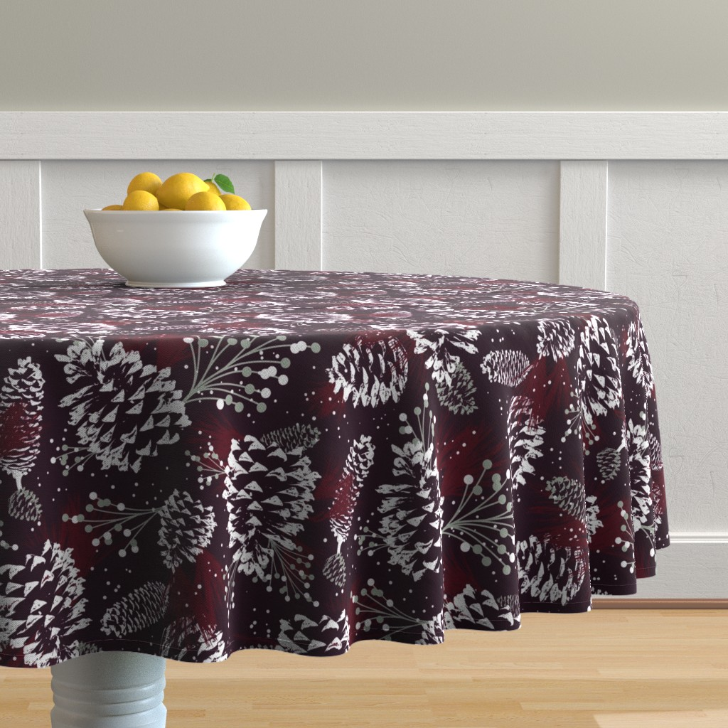 Malay Round Tablecloth featuring Festive Forest - Burgundy by heatherdutton