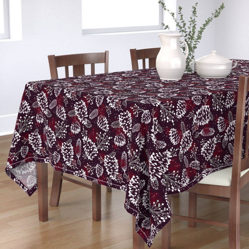 Bantam Rectangular Tablecloth featuring Festive Forest - Burgundy by heatherdutton