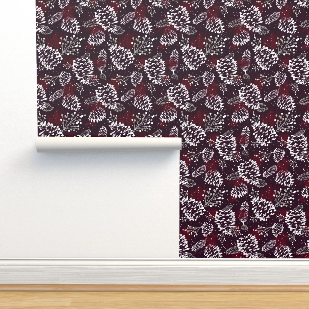 Isobar Durable Wallpaper featuring Festive Forest - Burgundy by heatherdutton