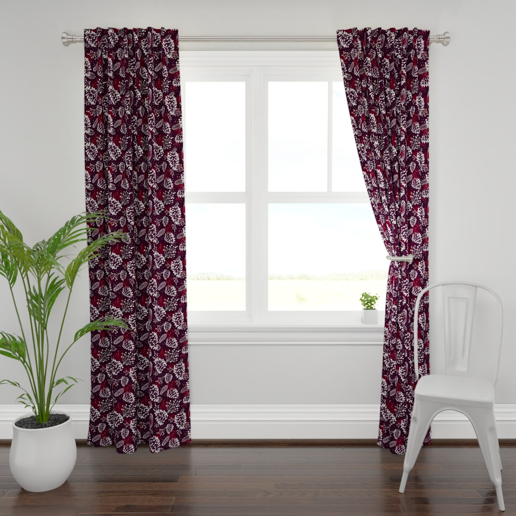 Plymouth Curtain Panel featuring Festive Forest - Burgundy by heatherdutton