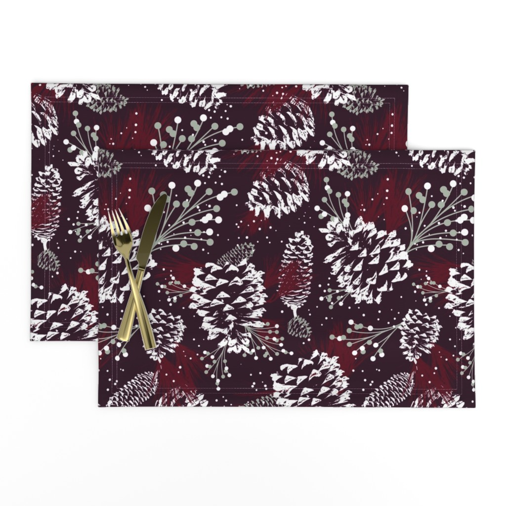 Lamona Cloth Placemats featuring Festive Forest - Burgundy by heatherdutton