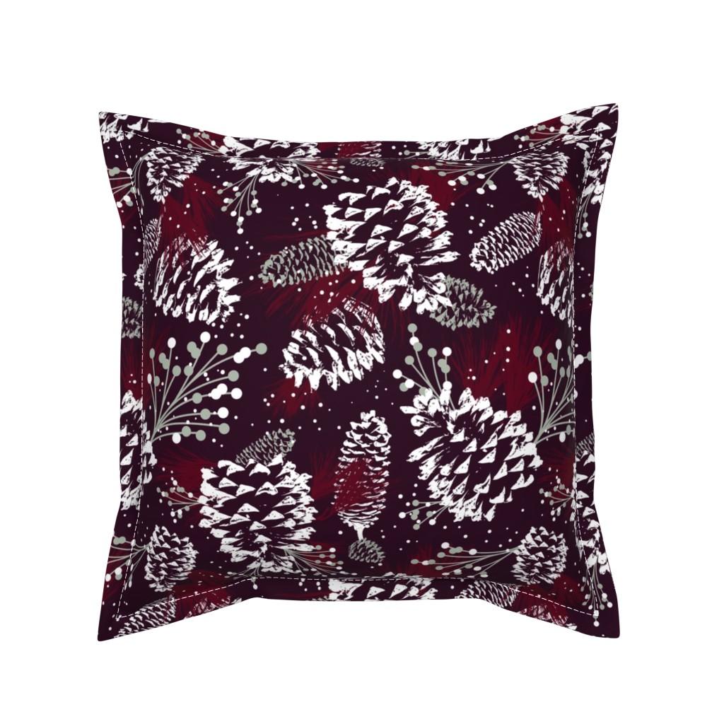 Serama Throw Pillow featuring Festive Forest - Burgundy by heatherdutton