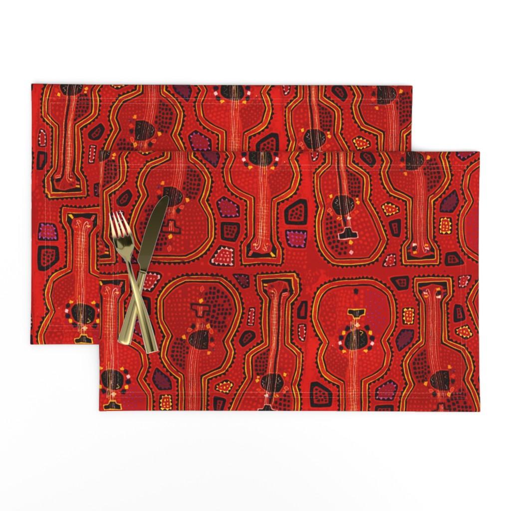 Lamona Cloth Placemats featuring Mola - Red Guitars by vagabond_folk_art