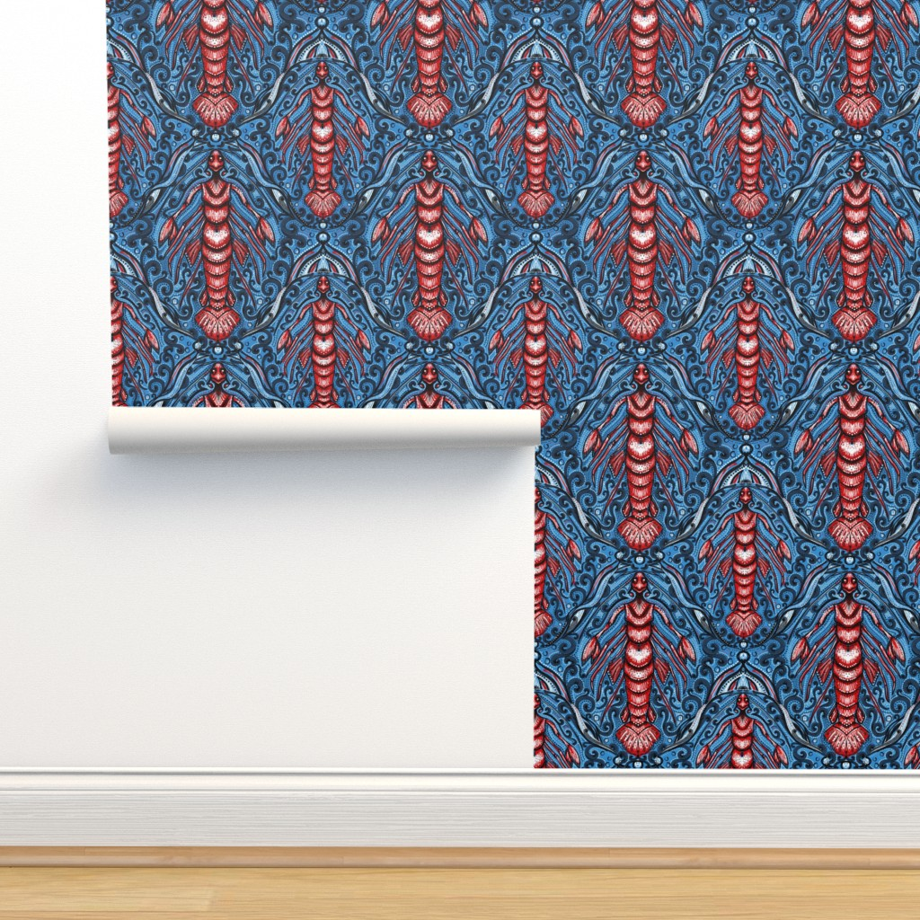 Isobar Durable Wallpaper featuring lobster merman damask by beesocks