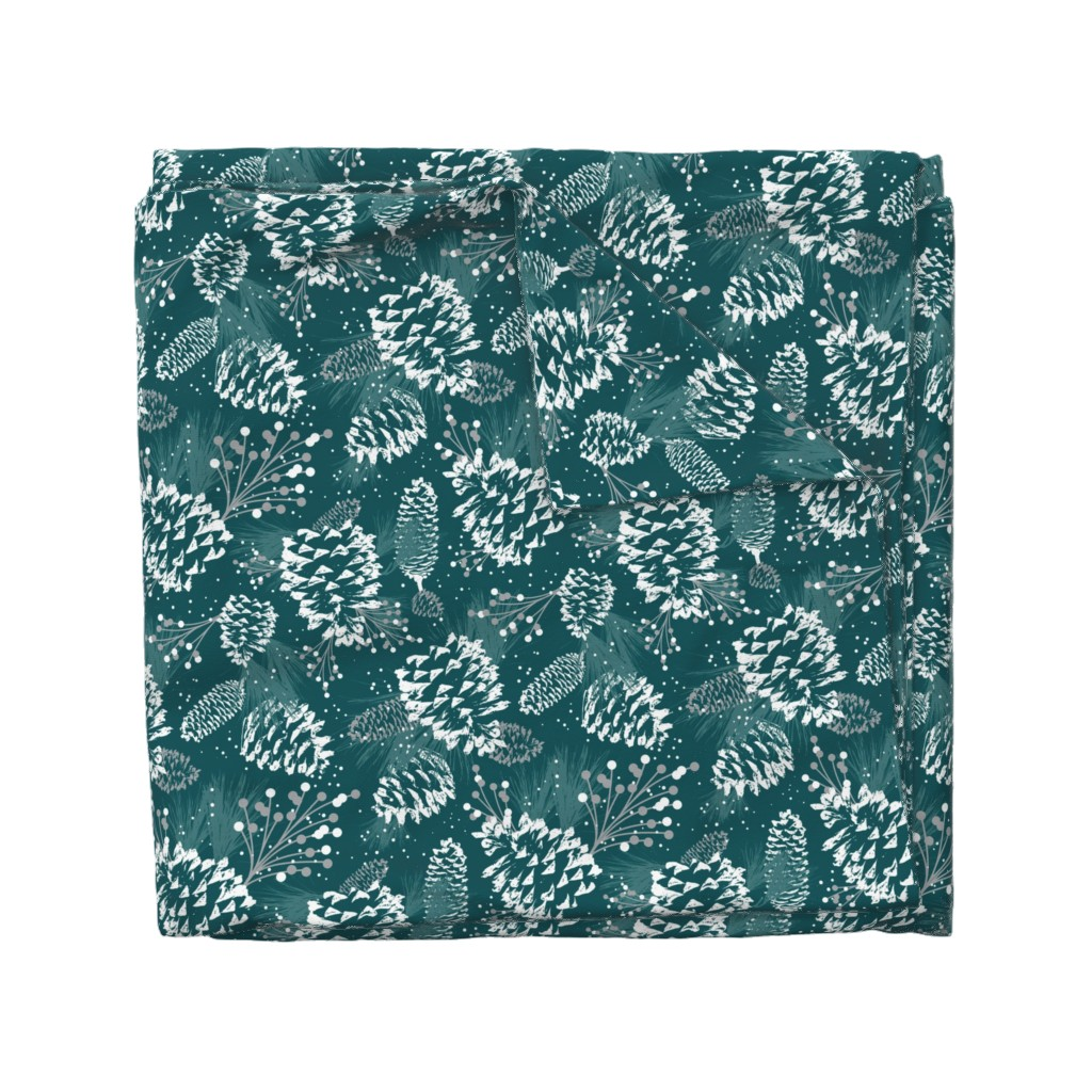 Wyandotte Duvet Cover featuring Festive Forest - Teal Green  by heatherdutton