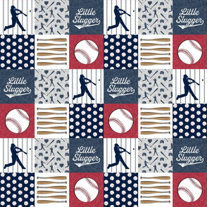 """(3"""" small scale) Little Slugger Baseball Patchwork fabric - red blue pin stripes"""