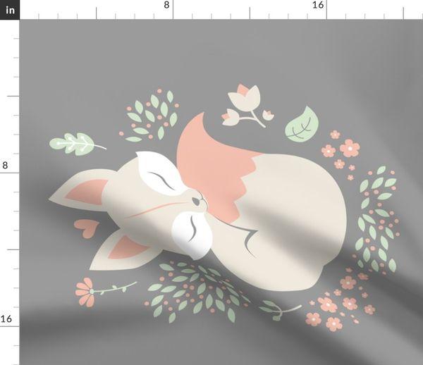 Fabric by the Yard Sleeping Fox - grey panel - VERTICAL