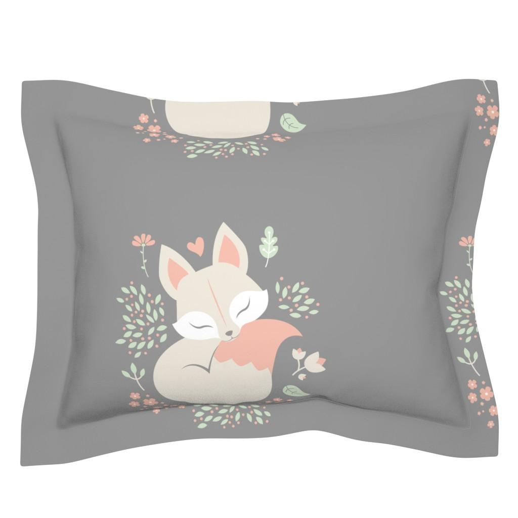 Sebright Pillow Sham featuring Sleeping Fox - grey panel - HORIZONTAL by ewa_brzozowska