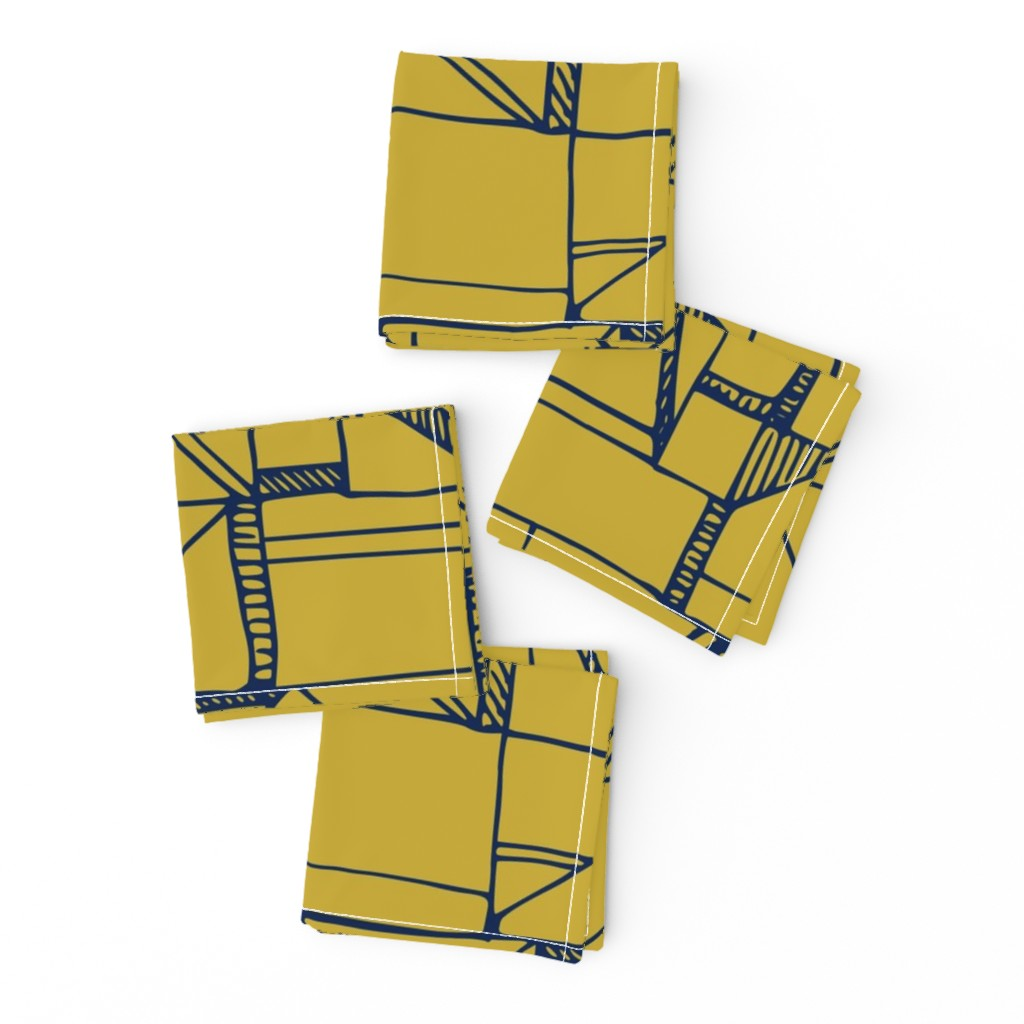 Frizzle Cocktail Napkins featuring Bauhaus Blue and Yellow by amy_maccready