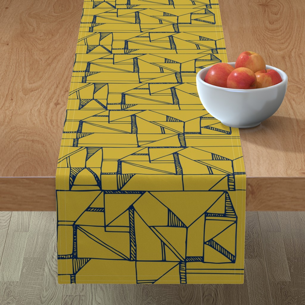 Minorca Table Runner featuring Bauhaus Blue and Yellow by amy_maccready