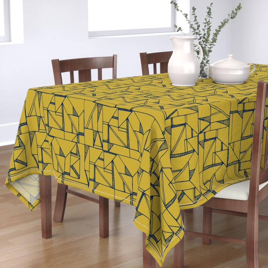 Bantam Rectangular Tablecloth featuring Bauhaus Blue and Yellow by amy_maccready