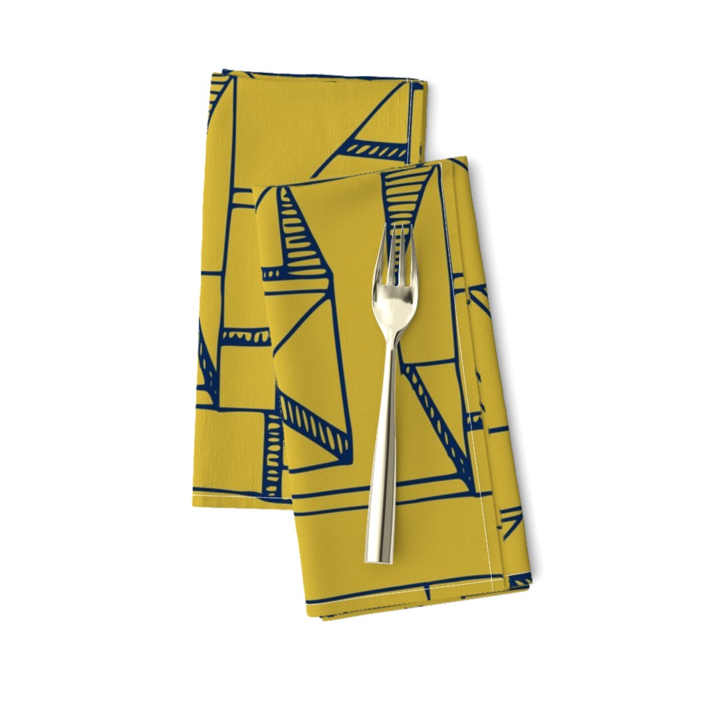 Amarela Dinner Napkins featuring Bauhaus Blue and Yellow by amy_maccready