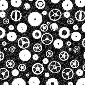 Cogs Black & White Sketch