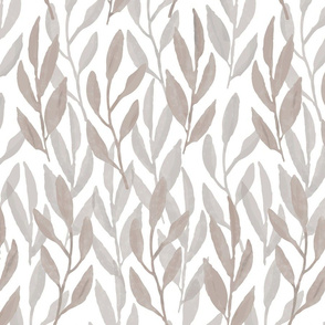 Watercolor Leaf, Taupe