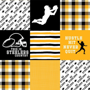 Football//Hustle Hit Never Quit Steelers - Wholecloth Cheater Quilt