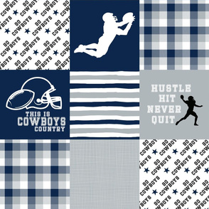 Football//Hustle Hit never Quit - Cowboys - wholecloth Cheater Quilt
