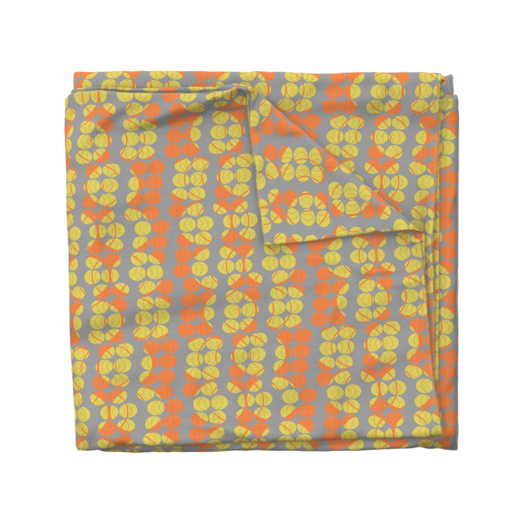Wyandotte Duvet Cover featuring open ellipses in yellow and orange by variable