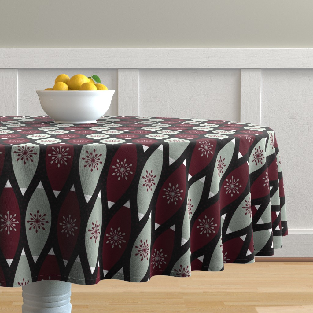 Malay Round Tablecloth featuring Elegant Christmas Ornaments by thewellingtonboot