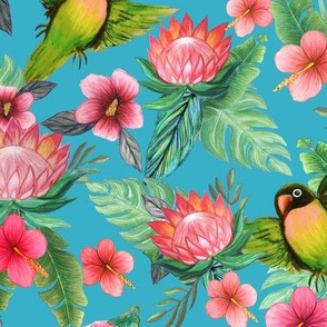 Tropical flowers & Lovebirds on blue