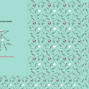 EDS Syndrome Ehlers Danlos Skeleton Full one yard composed of several patterns T Shirt on green EDS Ehlers Danlos Syndrome // Squelette T shirt entier plusieurs motifs sur un mètre plusieurs motifs Sed Ehlers Danlos Syndrome