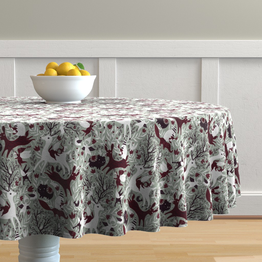 Malay Round Tablecloth featuring paletterestrictedChristmasdark by gaiamarfurt