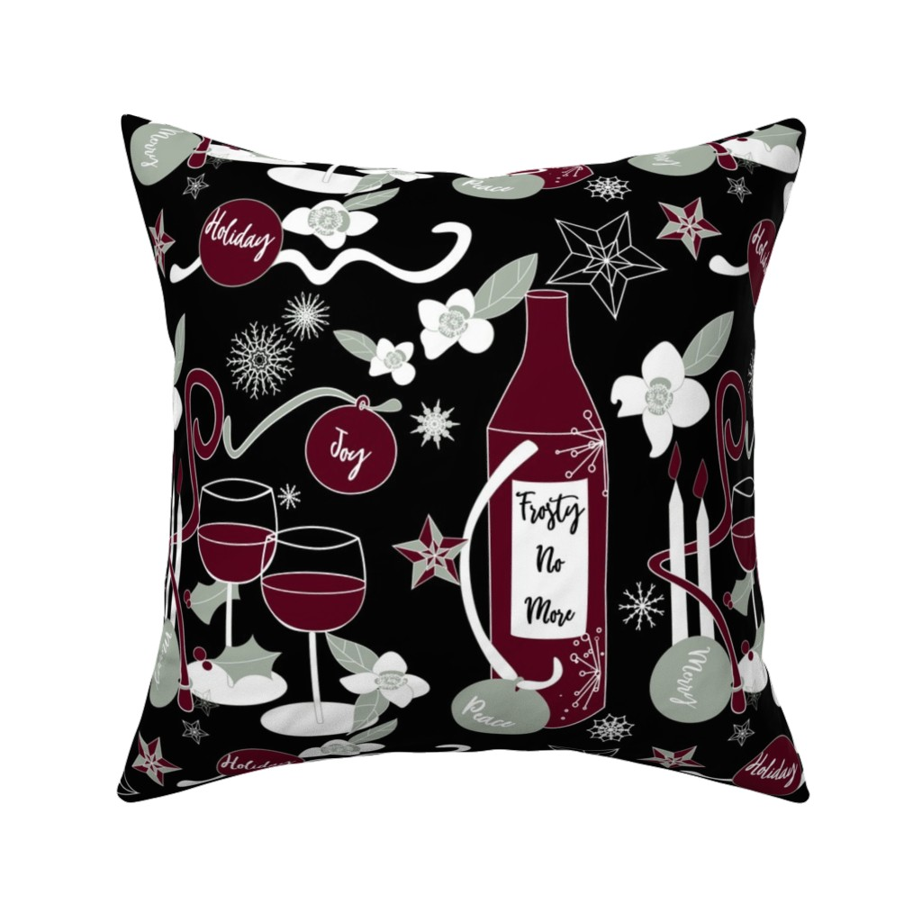 Catalan Throw Pillow featuring Frosty No More - elegant on black by stasiajahadi