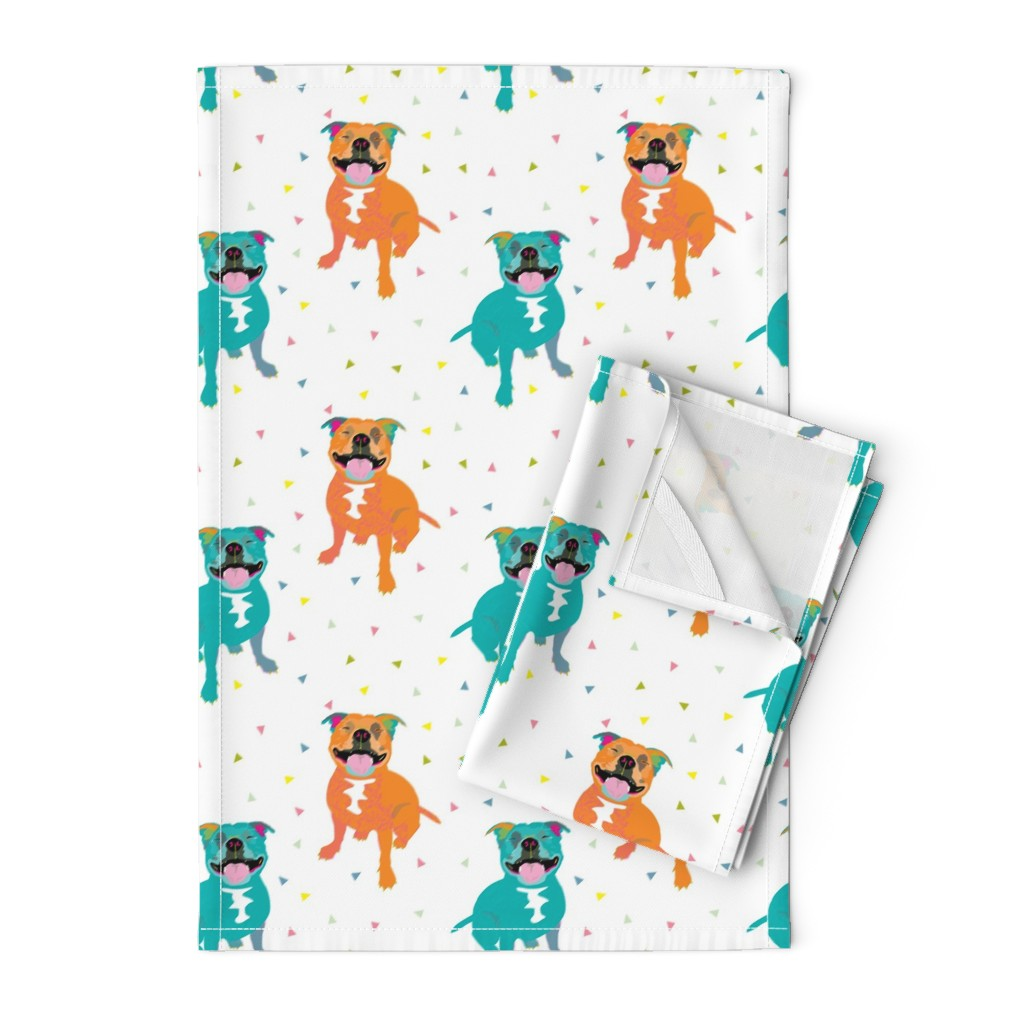 Orpington Tea Towels featuring Happy Staffy white by Mount Vic and Me by mountvicandme